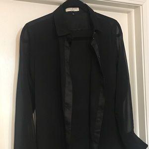 Halston black button up blouse.